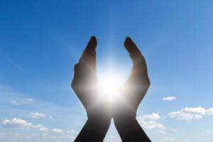 sun in hands